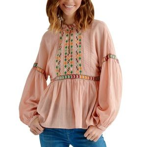 NEW Lucky Brand Embroidered Blouse - Peach *NWT